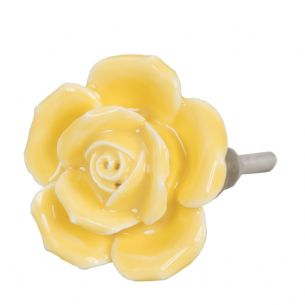 Yellow Ceramic Rose Flower Doorknob Drawer Knob Cabinet Pull 4.5cm